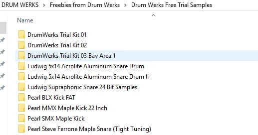 Drum Werks Trial Folder Contents