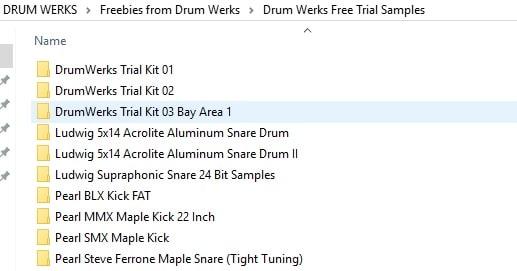 Drum Werks Trial Folder Contents