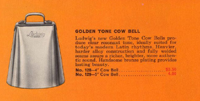 Vintage Ludwig Golden Tone Cow Bell